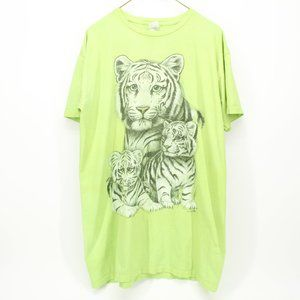 Vintage Bright Lime Green White Tiger Shirt